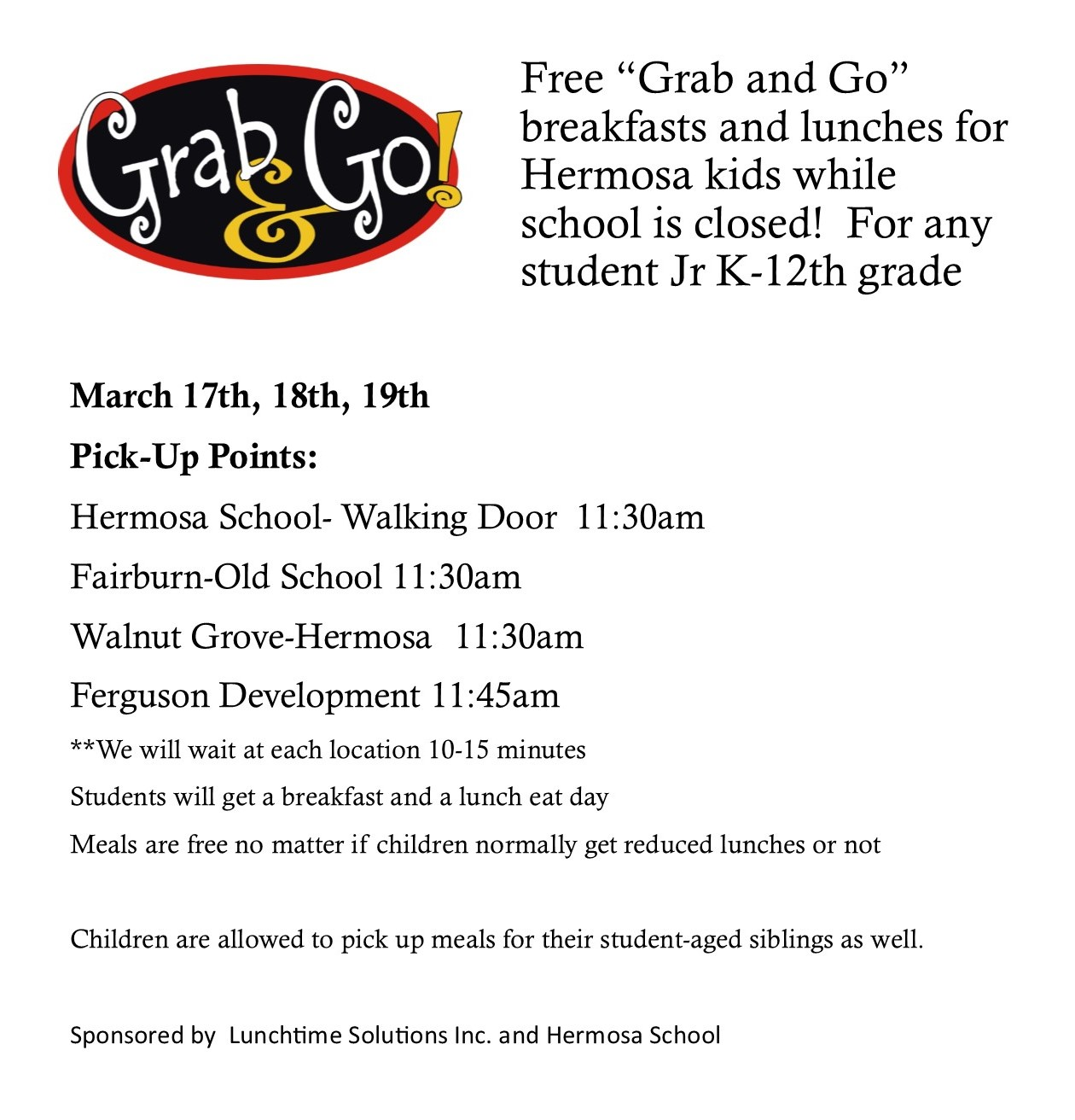 Free Breakfast and Lunches for Kids in Hermosa