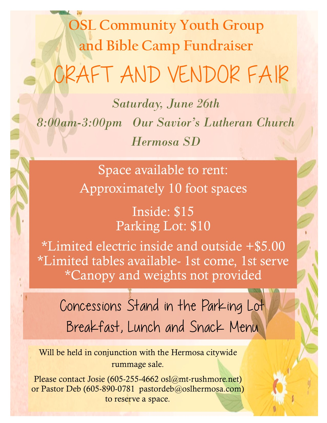 OSL Community Youth Group  and Bible Camp Fundraiser                        CRAFT AND VENDOR FAIR